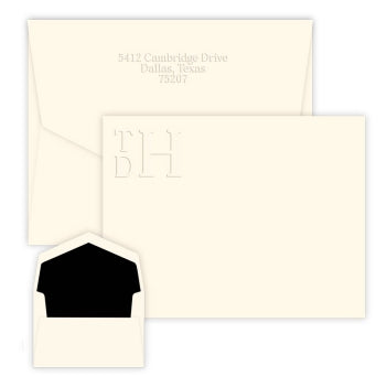 Stacked Monogram Embossed Flat Correspondence Card