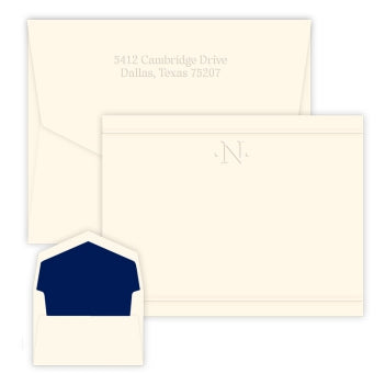 One-Initial Embossed Flat Correspondence Card