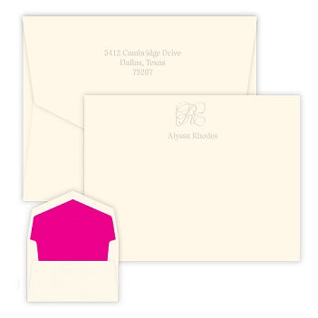 Capital Embossed Flat Correspondence Card