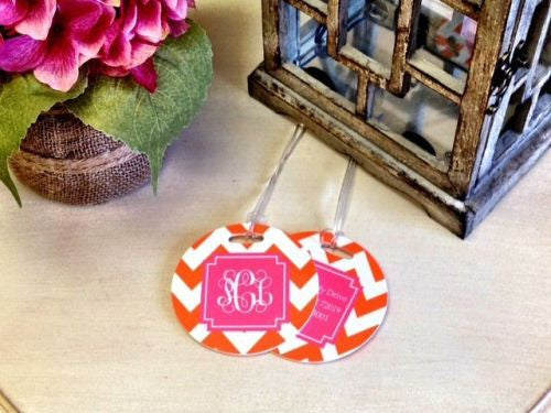 Custom Chevron Pair of Round Luggage Tags