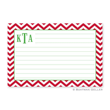 Chevron Red Recipe Card