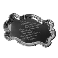 Engraved Pewter Wedding Invitation Chippendale Tray