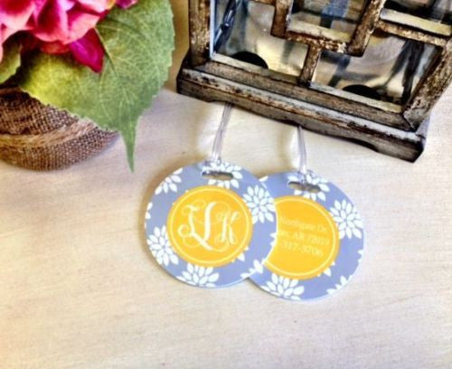 Custom City Flower Pair of Round Luggage Tags