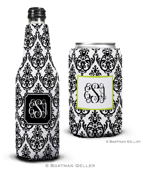 Madison Damask White with Black Koozies