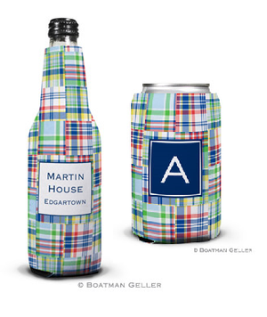 Madras Patch Blue Koozies