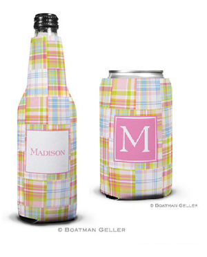Madras Patch Pink Koozies