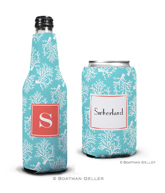 Coral Repeat Teal Koozies
