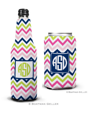 Chevron Pink, Navy, & Lime Koozies