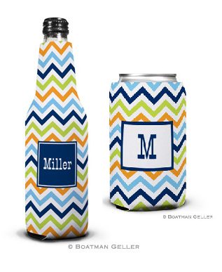 Chevron Blue, Orange, & Lime Koozies