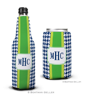 Alex Houndstooth Navy Koozies