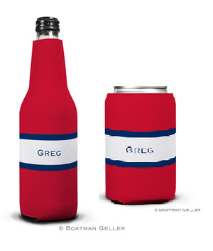 Stripe Red & Navy Koozies