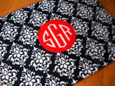 Monogrammed Black & Red Damask Glass Cutting Board