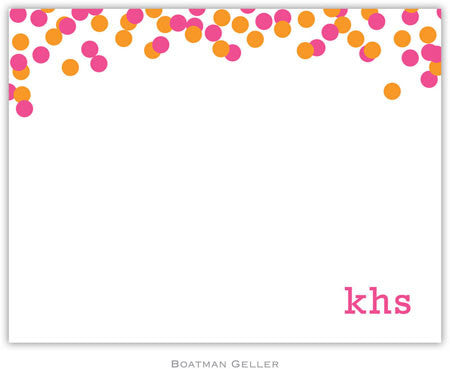 Confetti Pink & Orange Flat Notecard