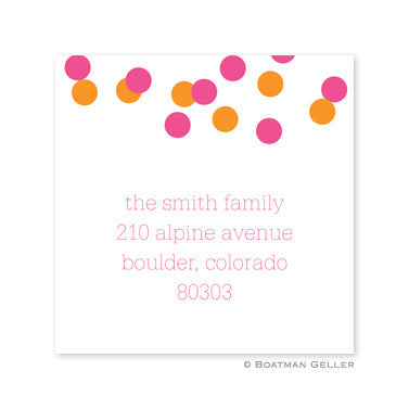 Confetti Pink and Orange Stickers