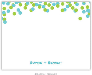 Confetti Teal & Green Flat Notecard