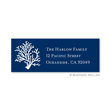 Coral Navy Address Label