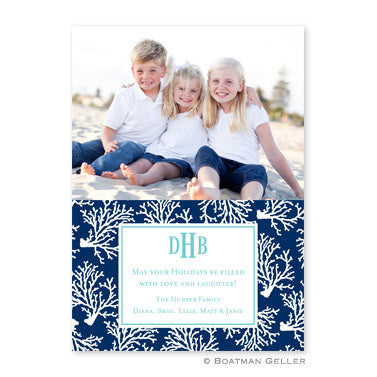 Coral Repeat Navy Flat Photocard