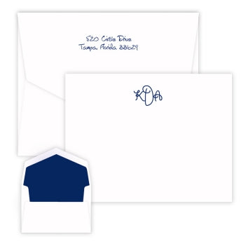 Sydney Monogram Raised Ink Flat Correspondence Card