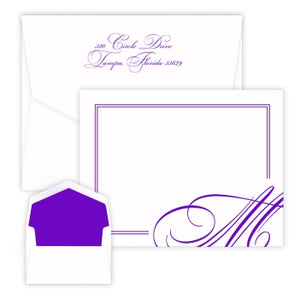 Verona Initial - Raised Ink Flat Correspondence Card