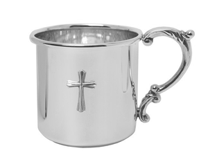 Scroll Handle with Cross Sterling Silver Baby Cup