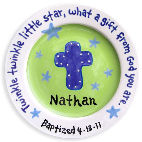 Personalized Blue and Green Cross Plate