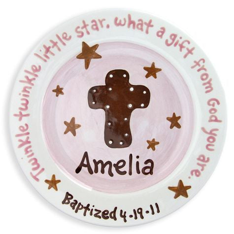 Personalized Pink and Brown Cross Plate
