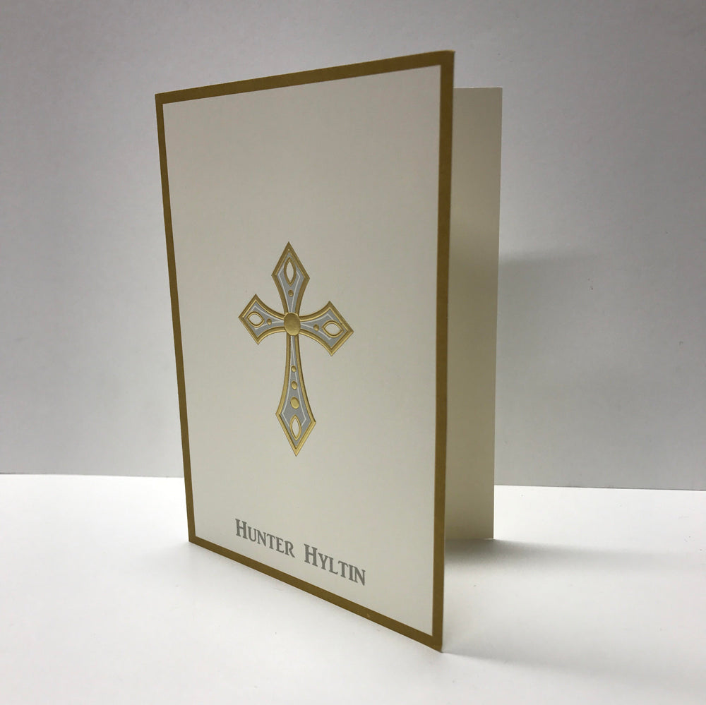 Personalized Cross Folded Notes (Gold Foil on Ivory)