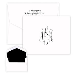 Cursive Monogram Note - Raised Ink