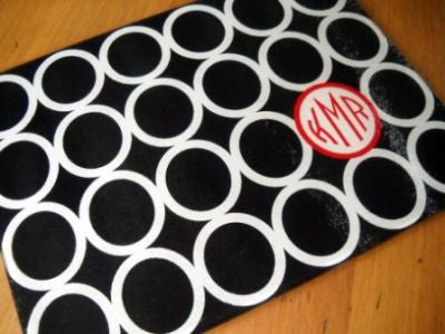 Monogrammed Black Mod Circle Glass Cutting Board