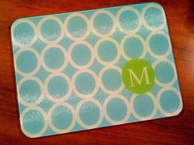 Monogrammed Mod Circle Glass Cutting Board