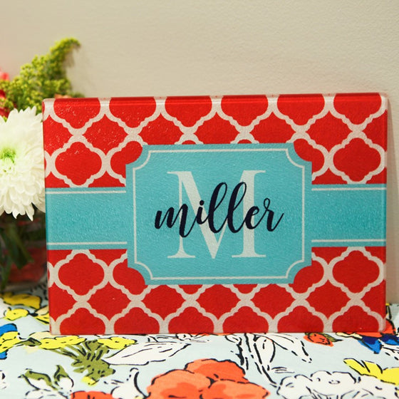 Personalized Red Quatrefoil Glass Cutting Board