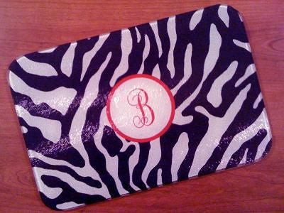 Monogrammed Black Zebra Glass Cutting Board