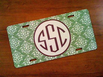 Monogrammed Green Damask License Tag
