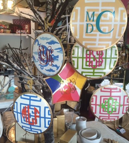 Monogrammed Dana Gibson Hand Painted Ornaments