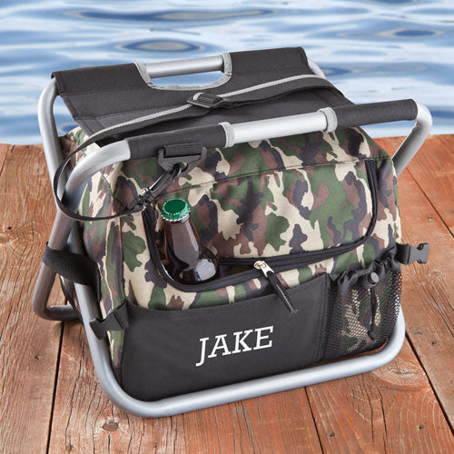 Monogrammed Deluxe Camouflage Sit and Sip Cooler