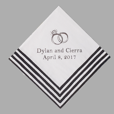 Custom Stripe Border Paper Napkins
