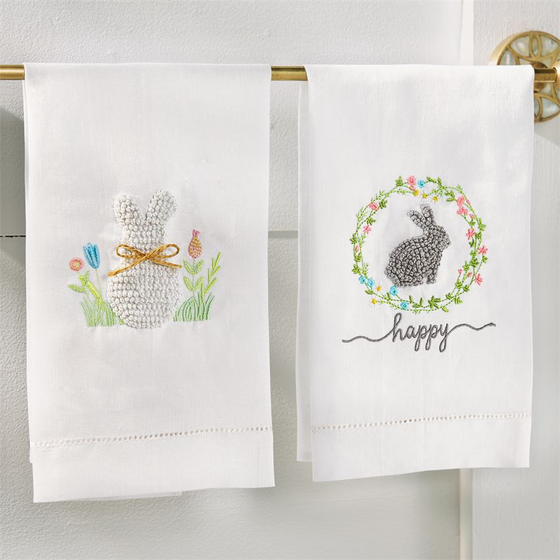 Bunny French Knot Hand Towel