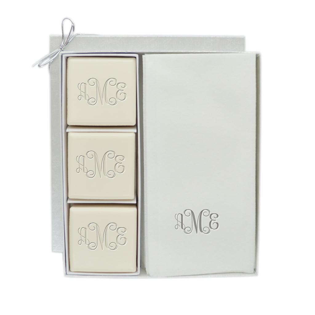 Monogrammed Eco-Luxury Courtesy Square Soap & Towel Gift Set