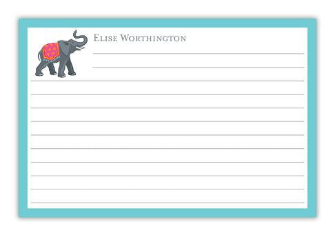 Personalized Elephant Recipe Cards