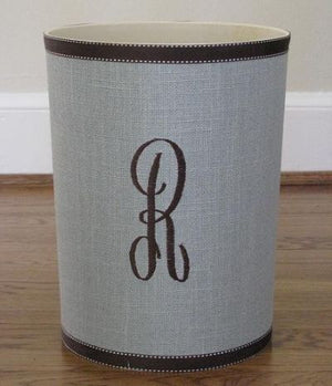 Monogrammed Pale Blue Linen Waste Basket