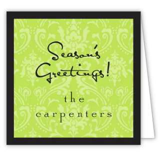 Damask Green & Black Gift Enclosure Card or Gift Sticker