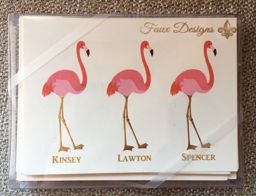 Personalized Flamingo Folded Notes