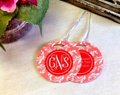 Custom Floral Pair of Round Luggage Tags