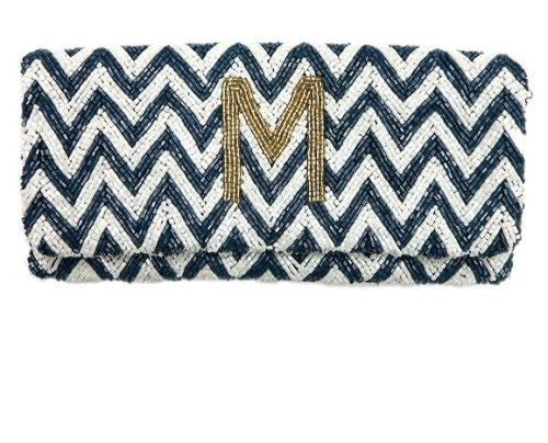 Beaded Chevron Fold Over Clutch