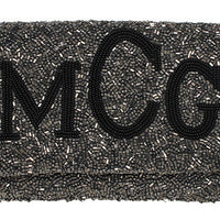Fold over Times New Roman Monogram Beaded Clutch