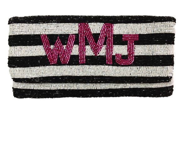 Monogrammed Striped Beaded Clutch