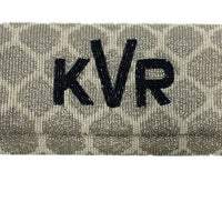 Fold over Times New Roman Monogram Beaded Trellis Clutch