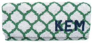 Honeycomb Monogram Beaded Clutch