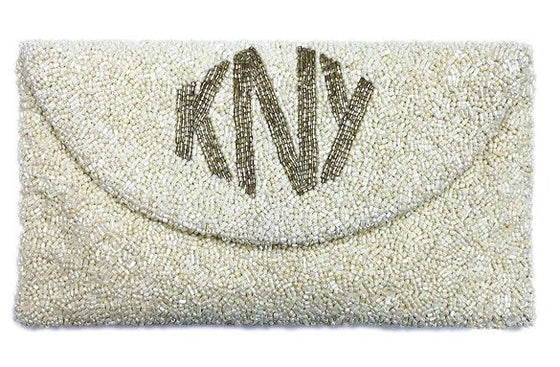 Beaded Envelope Clutch with Diamond Monogram
