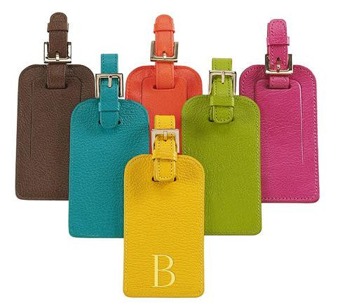Monogrammed Bright Leather Luggage Tag - The Monogram Merchant